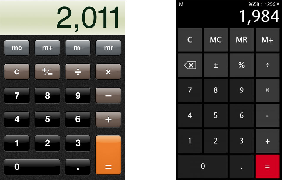 iphone and windows calculators