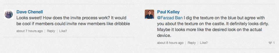 dribbble comments