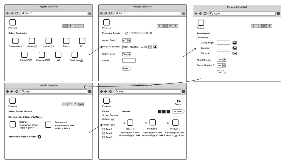 screen selector wireframe